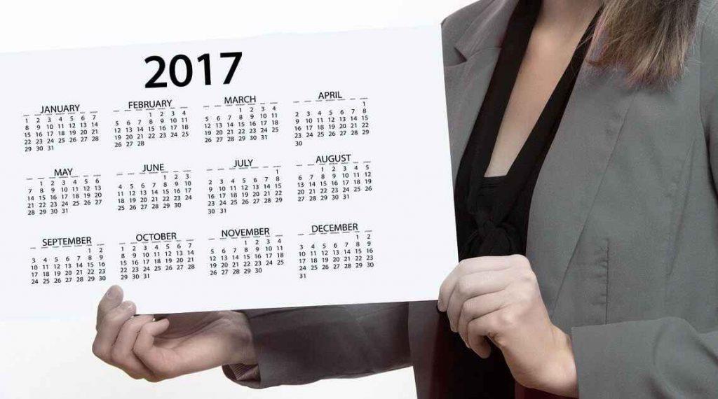 Calendário do ano de 2017